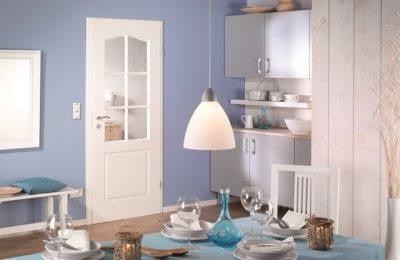 Weißlack Innentür mit Glasausschnitt und Stichbogen